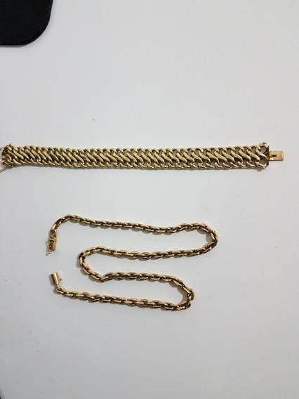 Fg3 Cordao E Bracelete Em Ouro