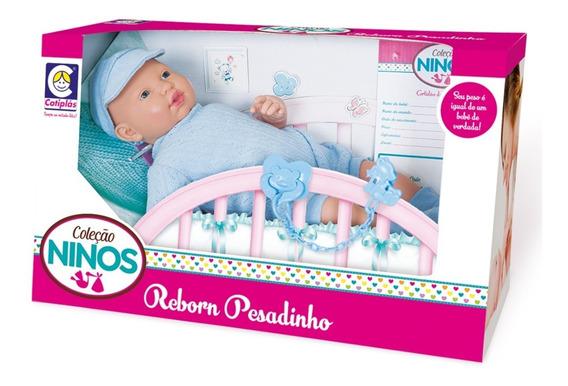 Boneca Ninos Reborn Pesadinho Menino - 44cm - Cotiplás