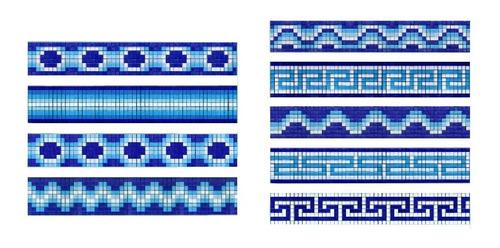 Imagen 1 de 10 de Cenefa Para Alberca  Espiral En Mosaico Veneciano Kolorines