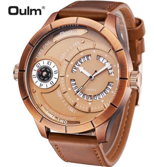 Relógio Masculino Oulm 6032 Original Dourado Militar Original Dual Time Modelo Grande Dual Time Todo Funcional
