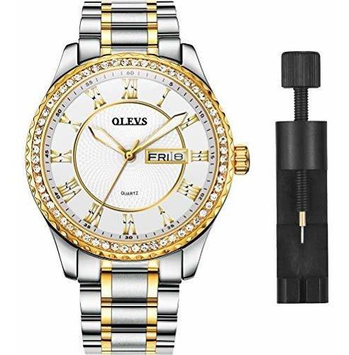 Olevs - Reloj De Pulsera Para Hombre Con Diamantes Dorados,