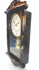 Relógio Analógico De Parede Rústico Lindo Pêndulo Ativo 38cm