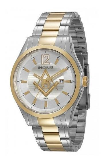Relógio Seculus Masculino Maçon Prata Dourado Original