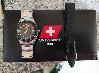 Reloj Swiss Army Con Caja Y Malla De Cuero Adicional