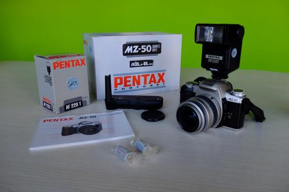 Câmera Pentax Mz-50 + Lente 35-80mm + Flash 220 + Grip