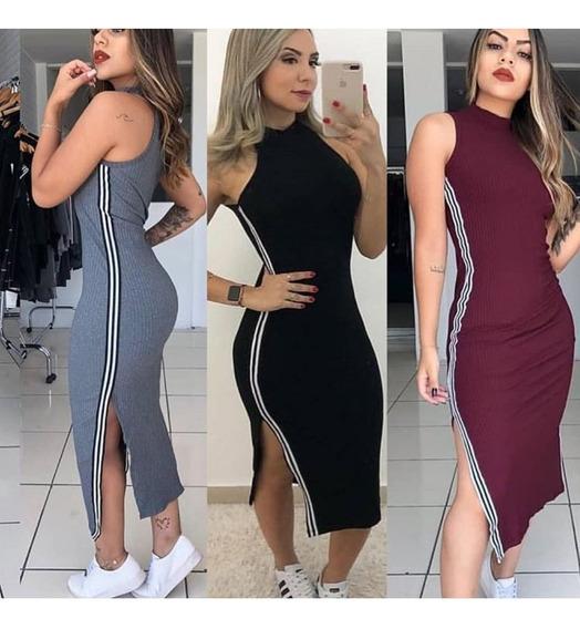 Vestido Midi Justo Canelado Moda Roupas Femininas