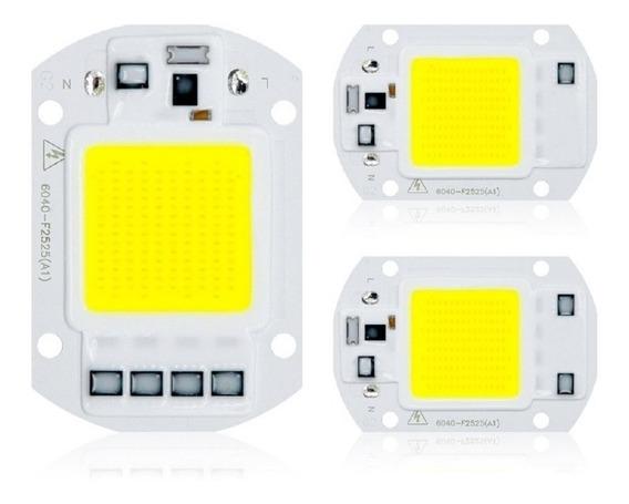 Chip Led Cob 50w 6000k Inteligente Sem Reator 110v Ou 220v - Cores Frio/quente/azul/verde