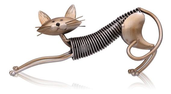 Tooarts Metal Escultura Ferro Arte Gato Primavera Feito Gato