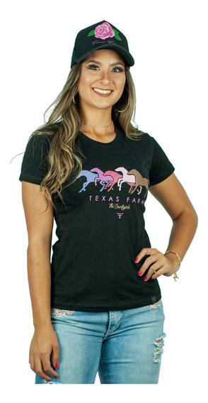 Camiseta Feminina Country Texas Farm - Preta Cf069 + Brinde