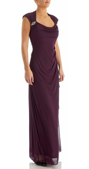 Vestido Fiesta Largo Violeta Talles Desde Xs Hasta 7xl