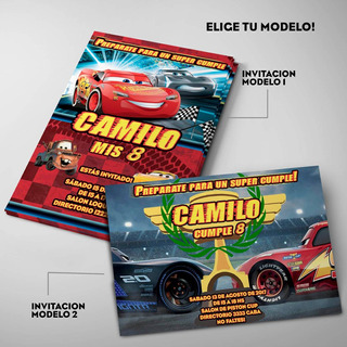 Kit Cars 3 Invitaciones Personalizadas Impresas X24