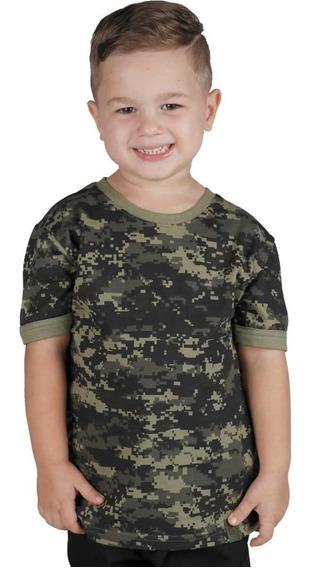 Camiseta Infantil Soldier Camuflada Digital Pântano Bélica