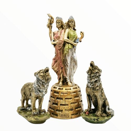 Imagen 1 de 2 de Paquete Diosa Hecate Triple Dorada 27cm Con Sus 2 Perros