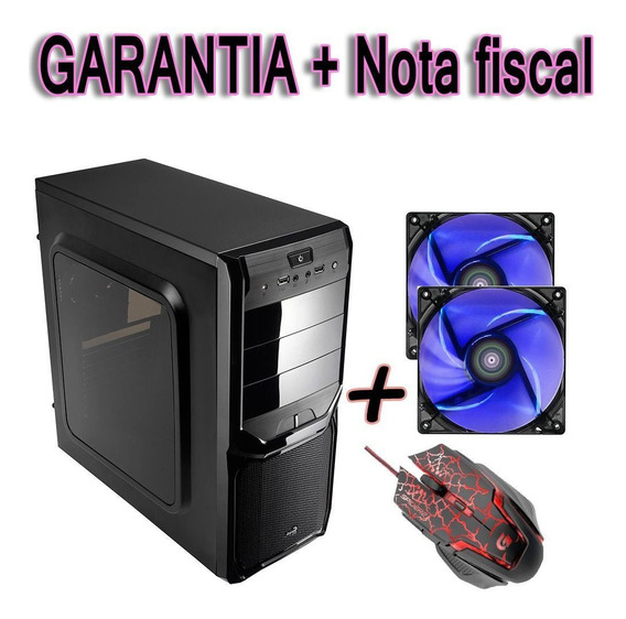 Gabinete Pc Simples Acrilico + 2 Cooler Fan 120mm + Mauser