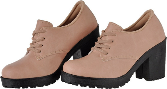 Oxford Feminino Fosco Rose Salto Tratorado Crshoes 1710