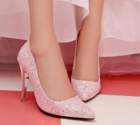Sapato Feminino Scarpin Brilho Glitter Noiva