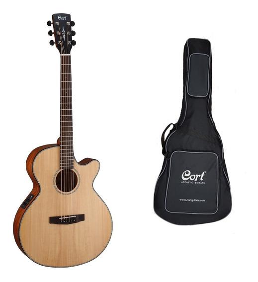 Guitarra Electroacustica Cort Sfx-e Natural + Funda Cuotas