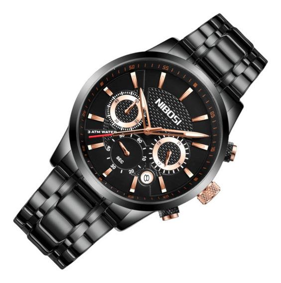 Relógio Masculino Nibosi 2313 Aço Preto Casual