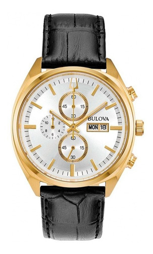 Relógio Bulova Masculino Cronógrafo 97c108 Dourado Couro