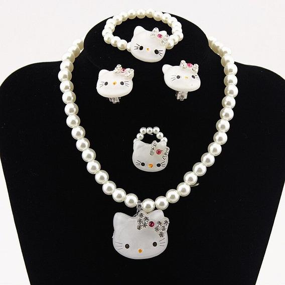 Conjunto Hello Kitty Blanco Para Niñas - Joyería Para Niñas