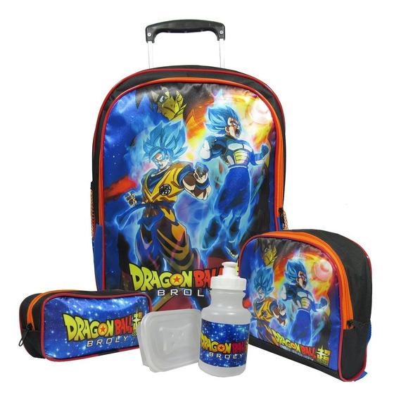 Kit Escolar Infantil Mochila Dragon Ball De Rodinhas
