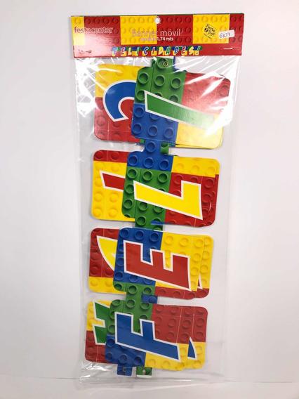 Letrero Banner Bloques Cubos Fiesta Lego Constr Felicidades