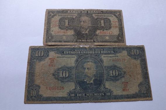 2 Cedulas- 1 Mil E 10 Mil Reis 1942