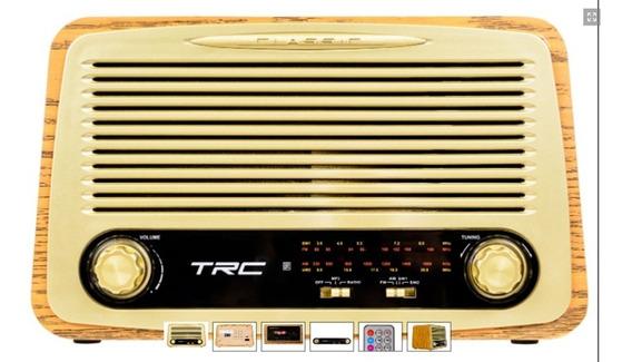 Caixa De Som Trc 212 Portátil Retro Usb Bluetooth 35w Radio Am/fm