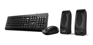 Kit Genius Teclado + Mouse + Parlantes Kms U130 3en1 Pc Usb