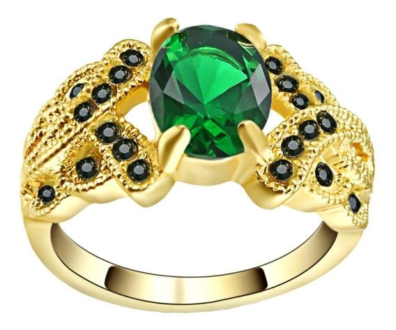 Anel Feminino Solitário Cravejado Cristal Esmeralda Verde Beleza Natural Cor Esperança Mulher Presente Dia Evento 447