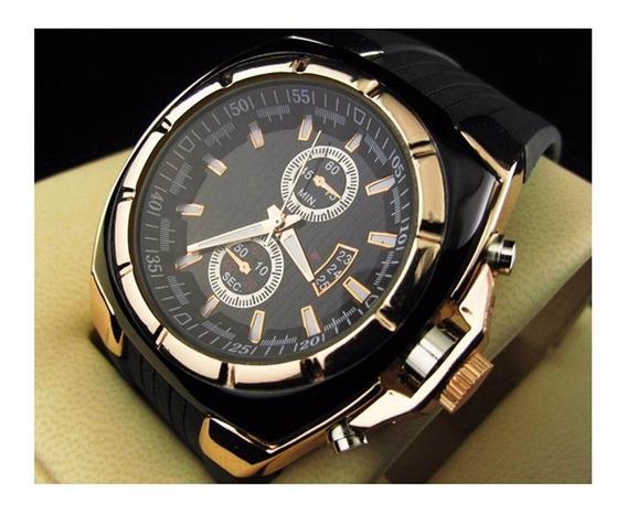 Relógio De Pulso Masculino Quadrado Dourado Aço Inoxidável