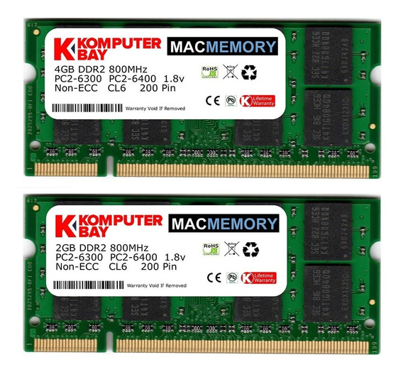 Memoria Ram 4gb Komputerbay Mac 6gb Kit ( + 2gb Modules) Pc2-6300 800mhz Ddr2 Sodimm Para Apple iMac 20 2008 2.4ghz 2.66