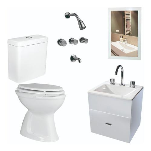 Baño Inodoro Mochila Vanitory Blanco 40 Cm Griferia - Cuotas