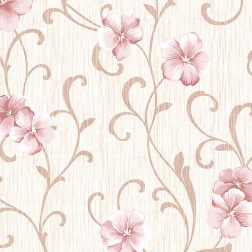 Imagem 1 de 1 de Papel De Parede Floral Adesivo Flores Rosa Lavável - N4782