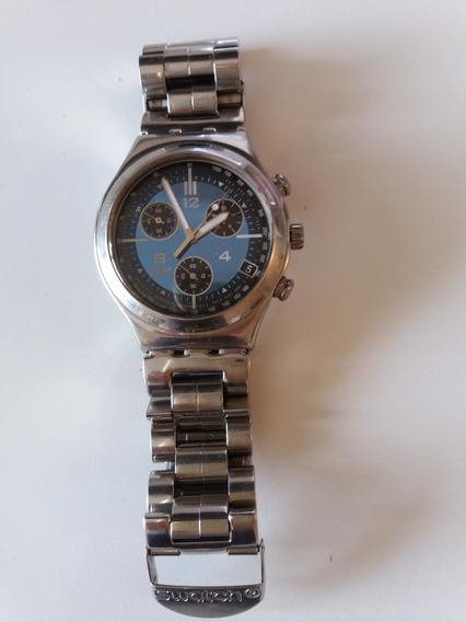Relógio Swatch Irony Stainless Steel Azul Super Conservado