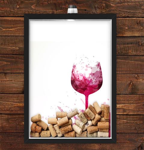 Imagem 1 de 1 de Quadro Caixa Rolha Vinho Com Led Taça Vinho