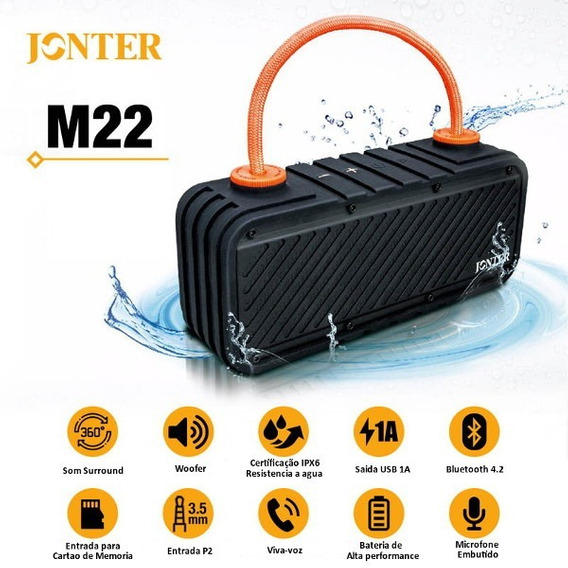 Caixa De Som Bluetooth 16w C/ Subwoofer - Resistente A Agua