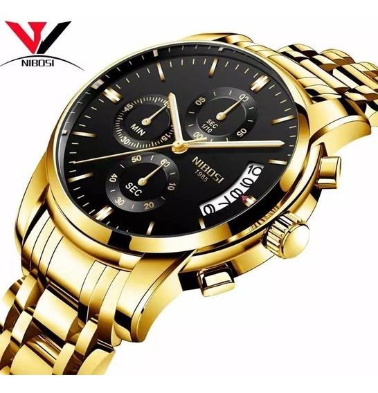 Relógio Masculino Nibosi 2353 - 30m Dourado C/ Preto