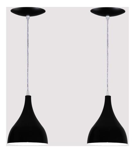 Imagem 1 de 6 de Kit 02 Luminárias Pendente Gota Em Alumínio - Preta Fosca