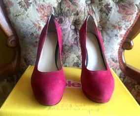 Zapatos De Cuero Nine West Talla 38.5 Color Fucsia