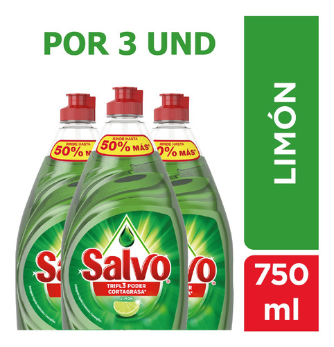 Lavaplatos Líquido Salvo Limón 750 Ml X3 Und