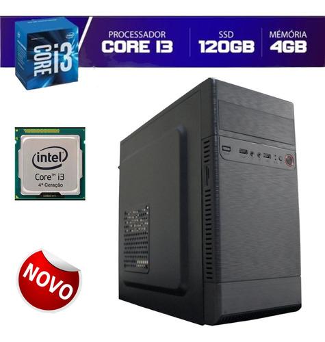 Imagem 1 de 5 de Pc Computador Desktop I3 4º 4gb Ram Ssd 120gb Novo Nf-e