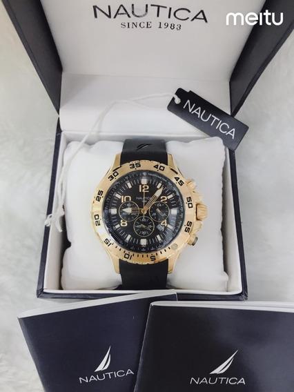 Relógio Real Ic3218 Nautica Ouro Fundo Preto Puls Borracha
