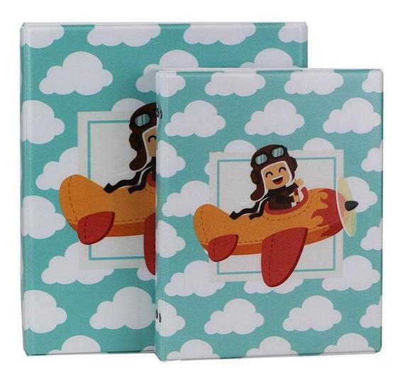 Álbum Para 200 Fotos 10x15 Infantil Avião Com Estojo