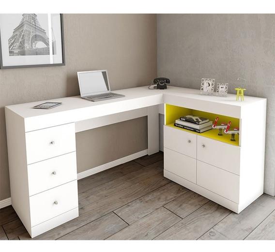 Mesa Para Computador Pc Job Canto 2 Portas 3 Gavetas Caemmun