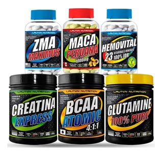 Kit Suplementos Bcaa Creatina Glutamina Zma Lauton Nutrition