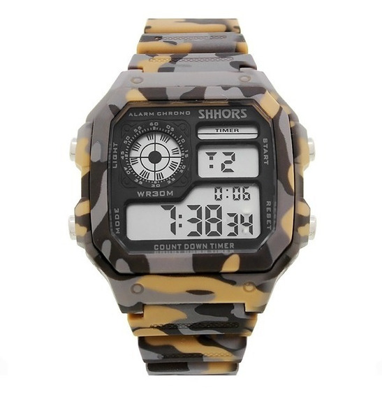 Reloj Militar Hombre Tactico Deportivo Cronometro Alarma Luz Led Fecha Reloj De Pulsera Camuflaje - Cafe