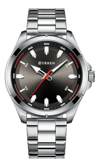 Relógio Masculino Curren Royal Silver Black Analógico Preto 8320