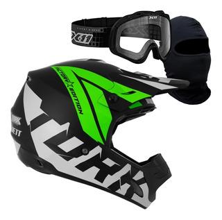 Capacete Piloto Moto Cross Pro Tork Trilha Com Óculos 788