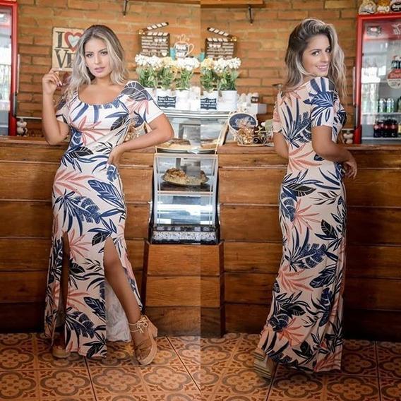 Vestido Longo Fenda Dupla Manga Curta Estampado